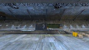 Submarine dock. 3D CG rendering of the submarine dock Royalty Free Stock Photo