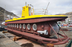 Submarine in dry dock. Puerto de Mogan, Grand Canary Spain royalty free stock images