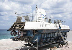 Submarine Dry-dock. The little submarine boat under repair in San Miguel town on Cozumel island (Mexico stock image