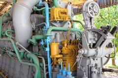 Submarine engine. Detail of old submarine engine exposed outdoor Royalty Free Stock Photo