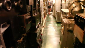 Submarine engine entrance. HONOLULU, OAHU, HAWAII, USA - AUGUST 21, 2016: entrance of the machine engine room of USS Bowfin Submarine SS-287 at Pearl Harbor stock video footage