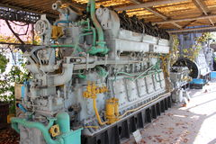 Submarine engine. Old submarine engine exposed outdoor in museum Royalty Free Stock Photos