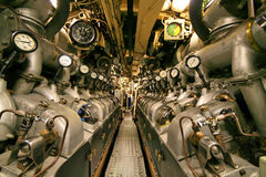 Submarine engine room. With twin diesel engines Stock Photo