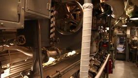 Submarine engine room. HONOLULU, OAHU, HAWAII, USA - AUGUST 21, 2016: engine room of USS Bowfin Submarine SS-287 at Pearl Harbor. Pearl Harbor is a military stock video