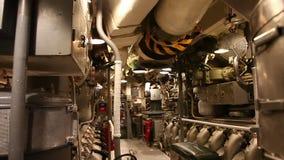 Submarine engine room panorama. HONOLULU, OAHU, HAWAII, USA - AUGUST 21, 2016: engine room panorama of USS Bowfin Submarine SS-287 at Pearl Harbor. Historic stock footage