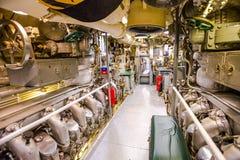 Submarine engine room panorama Royalty Free Stock Photo