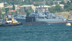 Submarine enters a military base stock footage