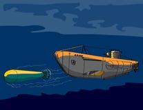 Submarine firing a torpedo. World War II u-boat submarine launching a torpedo royalty free illustration