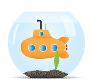 Submarine in fish tank Stock Photo