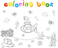 Submarine and fish under water. Seahorse, jellyfish, coral and s. Tarfish on the ocean floor. Coloring book. Educational game for children. Vector illustration Royalty Free Stock Photo