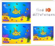 Submarine and fish under water. Seahorse, jellyfish, coral and s. Tarfish on the ocean floor. Educational game for kids: find ten differences. Vector Stock Images