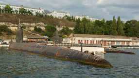 Submarine in floating dock of South Bay Royalty Free Stock Image