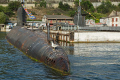 Submarine in floating dock of South Bay Stock Photography