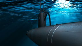 Submarine floats in a deep water 3D rendering vector illustration
