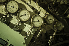 Submarine Gauges. Valve Gauges from the machinery of an old WWII British submarine stock photo