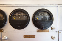 Submarine - gauges in electric engine room Royalty Free Stock Photography