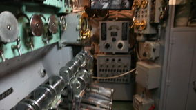 Submarine general electric. HONOLULU, OAHU, HAWAII, USA - AUGUST 21, 2016: general electric levers in electrical generator room of USS Bowfin Submarine SS-287 at stock video footage