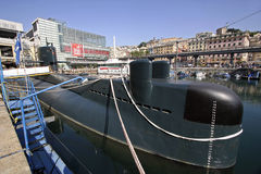 Submarine Genoa. Submarine Nazario Sauro anchored to the ancient port of Genoa stock photos