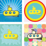 Submarine graphic on many retro styles Stock Image