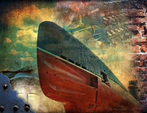 Submarine, grunge retro illustration. Old submarine at sea, grunge retro illustration Stock Photography