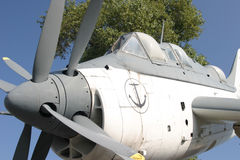 Submarine hunter. Navy fighter plane for hunting submarines royalty free stock photos