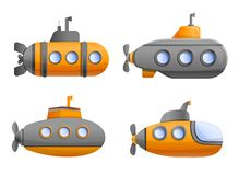 Submarine icon set, cartoon style stock illustration
