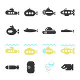 Submarine Icon Set Stock Photography