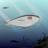 Submarine. Illustration of the future. Royalty Free Stock Images