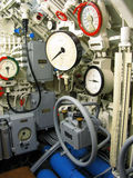 Submarine interior. German submarine interior with dials Stock Photo