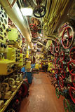 Submarine. The interior of the submarine compartment with devices of control Stock Photos