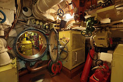 Submarine. The interior of the old submarine, the passage between the compartments stock photo