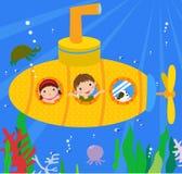 Submarine and kids. Cute submarine and kids-cartoon Stock Image