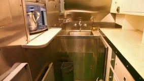 Submarine kitchen room. HONOLULU, OAHU, HAWAII, USA - AUGUST 21, 2016: kitchen room with sink of USS Bowfin Submarine SS-287 at Pearl Harbor. Historic Landmark stock video