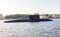 A submarine Krasnodar moored against Admiralty embankment Royalty Free Stock Photography