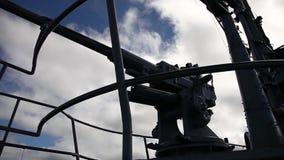 Submarine machine gun tower. HONOLULU, OAHU, HAWAII, UNITED STATES - AUGUST 21, 2016: machine gun tower with stairway of the USS Bowfin SS-287 submarine at Pearl stock footage