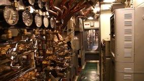 Submarine machine room panorama. HONOLULU, OAHU, HAWAII, USA - AUGUST 21, 2016: machine room panorama of USS Bowfin Submarine SS-287 at Pearl Harbor. Historic stock footage