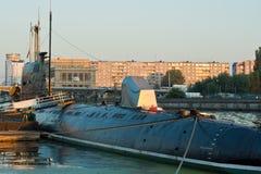 Submarine in marina Royalty Free Stock Image