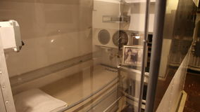Submarine marine bed. HONOLULU, OAHU, HAWAII, USA - AUGUST 21, 2016: single bed place for a marine of the crew with lockers in USS Bowfin Submarine SS-287 at stock video
