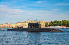 A submarine moored against University embankment at the Russian Navy Day. Stock Image