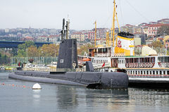 Submarine moored at the Rahmi M. Koc Museum in Istanbul, Turkey Stock Images