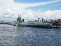 Submarine museum in St. Petersburg. Submarine on the Neva, St. Petersburg. Russia. Museum Royalty Free Stock Image