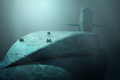 Submarine. Nuclear-powered Submarine under water Stock Image