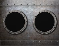 Submarine or old ship two portholes metal frames Royalty Free Stock Image