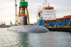 Submarine. Orzel Polish Navy moored at the quay shipyard in Gdynia after leaving the dock royalty free stock images
