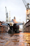 Submarine. Orzel Polish Navy during the renovation on the dock at the shipyard in Gdynia royalty free stock photography