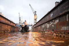 Submarine. Orzel Polish Navy during the renovation on the dock at the shipyard in Gdynia royalty free stock photos