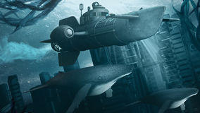 Submarine over the sunken city. Underwater scenery with small submarine, whales and buildings Stock Image