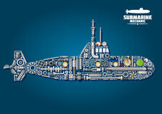 Submarine from parts and weapon Stock Photos