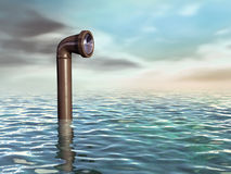 Submarine periscope. Periscope emerging from a water surface. Digital illustration vector illustration