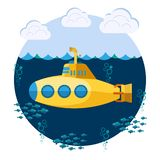 Submarine with periscope, fishes and bubbles, underwater boat. Black color silhouette, Flat design. Vector bathyscaphe icon stock illustration